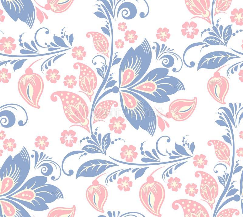 безшовное флористической картины романтичное иллюстрация вектора