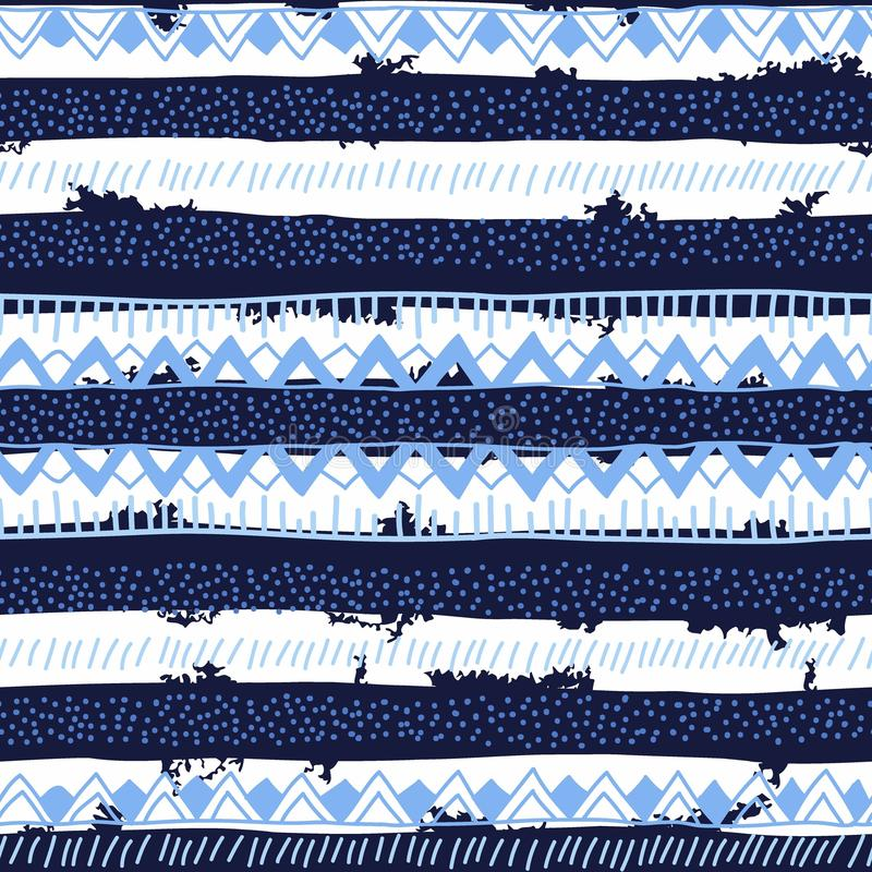 Безшовное яркое этническое происхождение в черных, голубых и белых нашивках бесплатная иллюстрация
