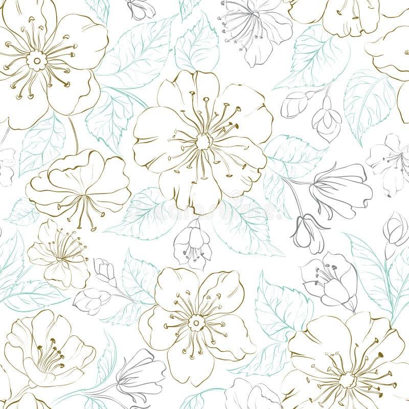 Безшовное scatch картины весны Сакуры иллюстрация штока