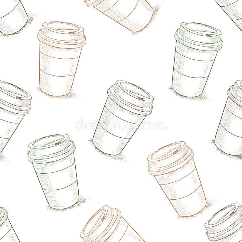 Безшовное scetch картины кофе, который нужно пойти бесплатная иллюстрация