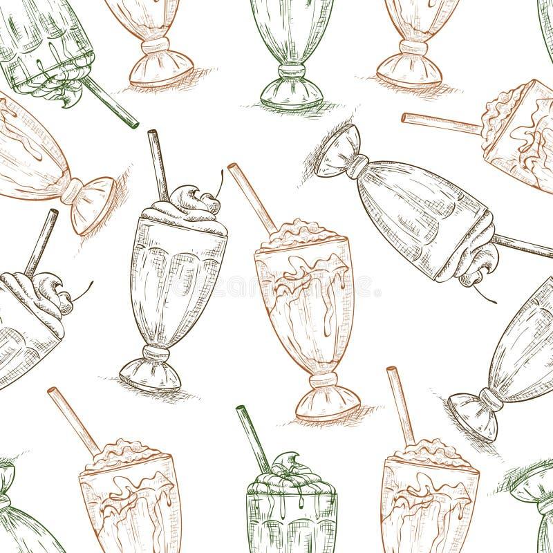Безшовное scetch картины 3 типов milkshake иллюстрация штока