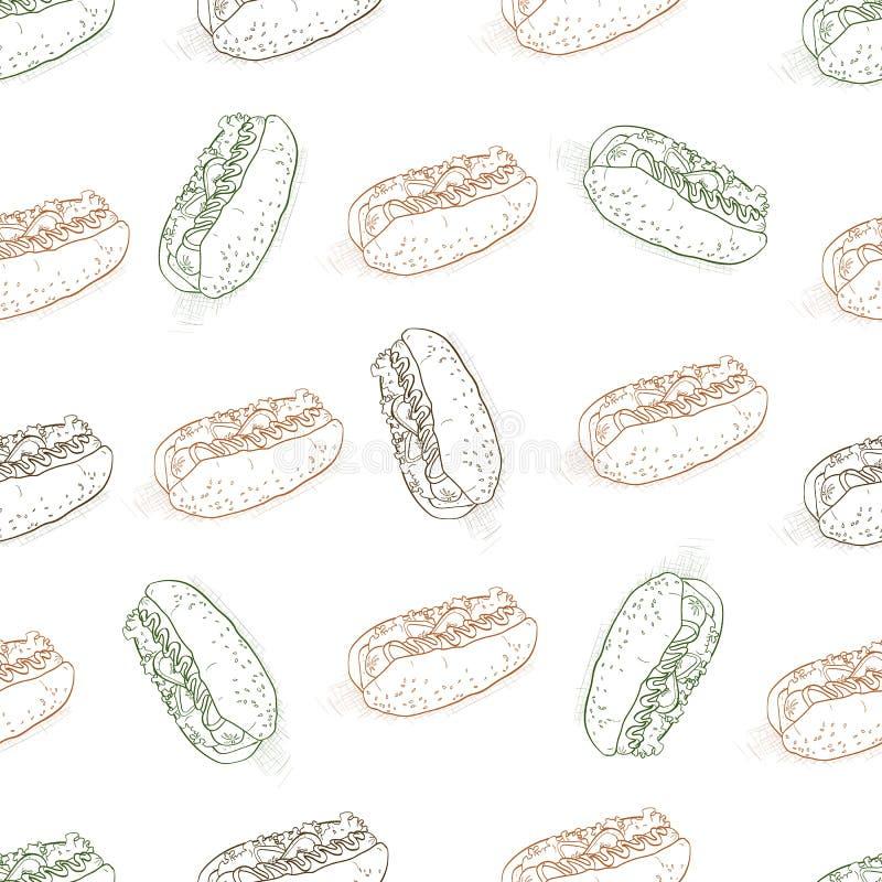Безшовное scetch хот-дога цвета картины бесплатная иллюстрация