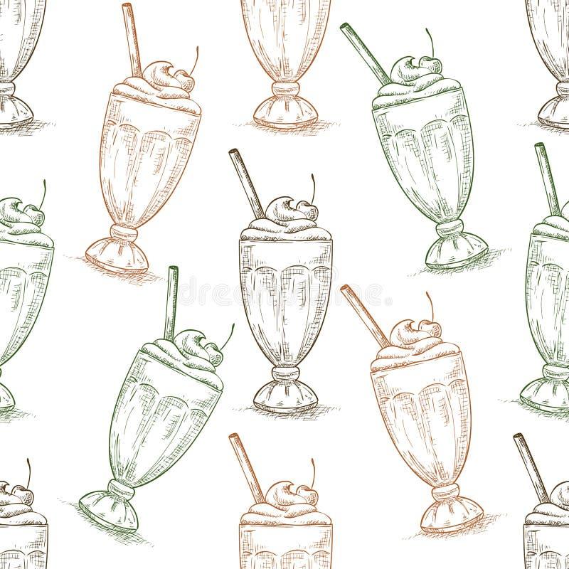 Безшовное scetch milkshake вишни картины бесплатная иллюстрация