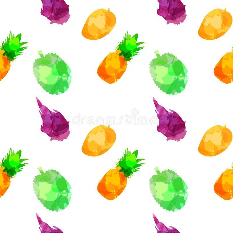 Безшовное withpineapple картины, манго, драконовый плод, дуриан с помарками и пятна на белой предпосылке Искусство акварели стоковое фото