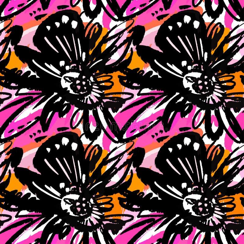 Безшовной абстрактной флористической картина чернил нарисованная рукой иллюстрация вектора