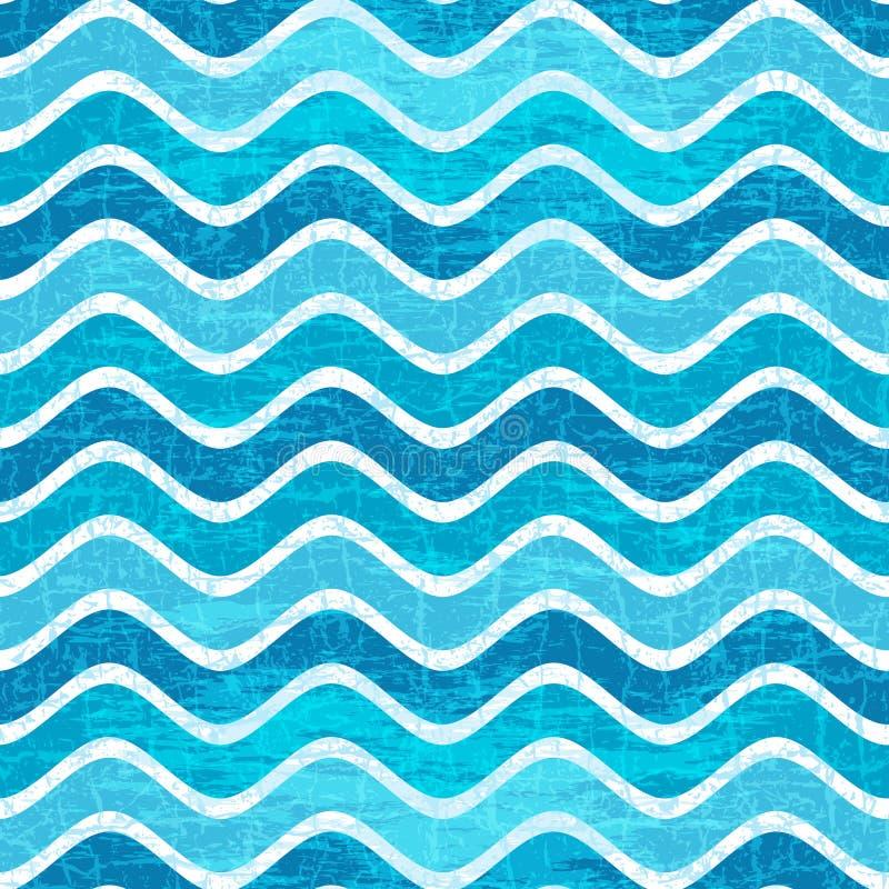 Безшовной голубой картина striped волной бесплатная иллюстрация