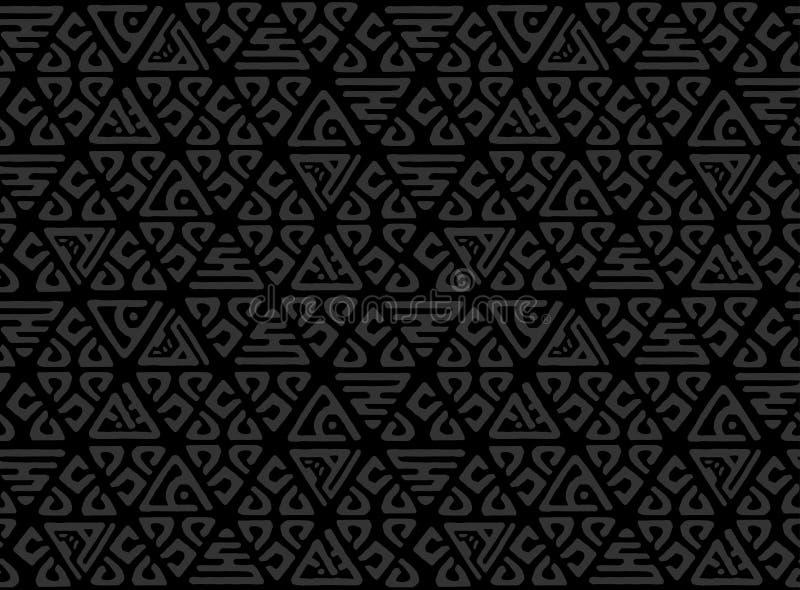 Безшовной декоративной картина нарисованная рукой Этническая бесконечная предпосылка с орнаментальными декоративными элементами с иллюстрация вектора