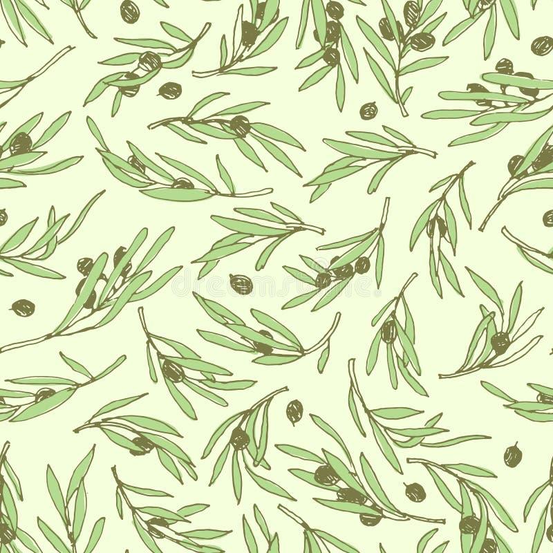 Безшовной дизайн картины оливковой ветки нарисованный рукой иллюстрация штока