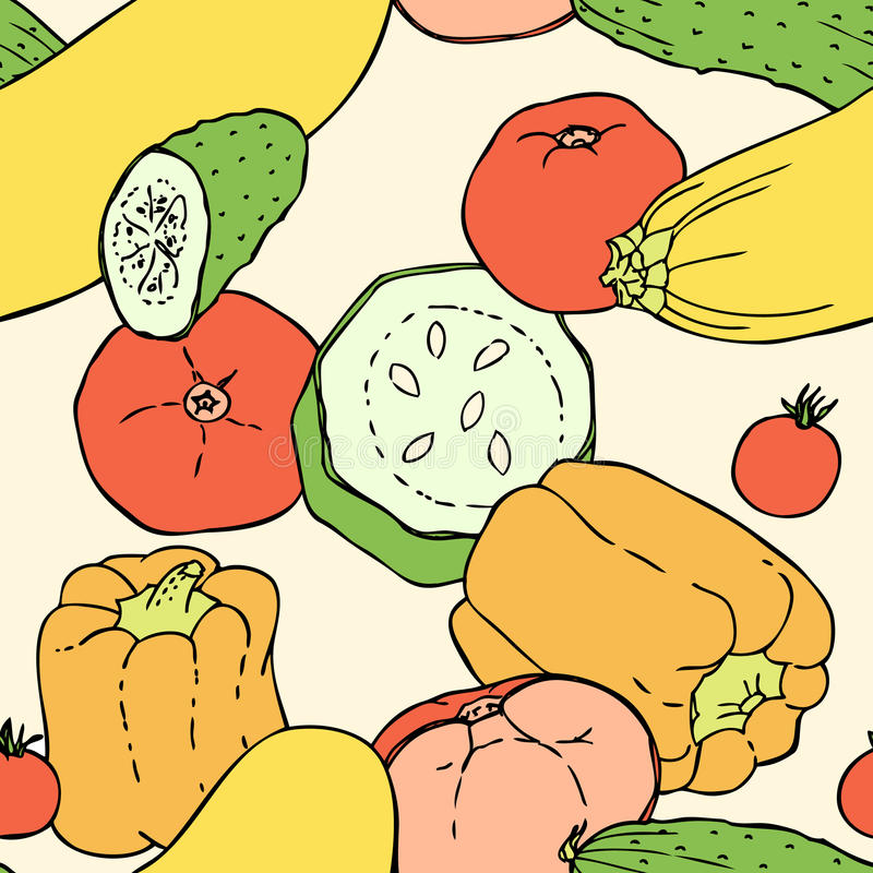 Безшовной картина нарисованная рукой с овощами иллюстрация вектора
