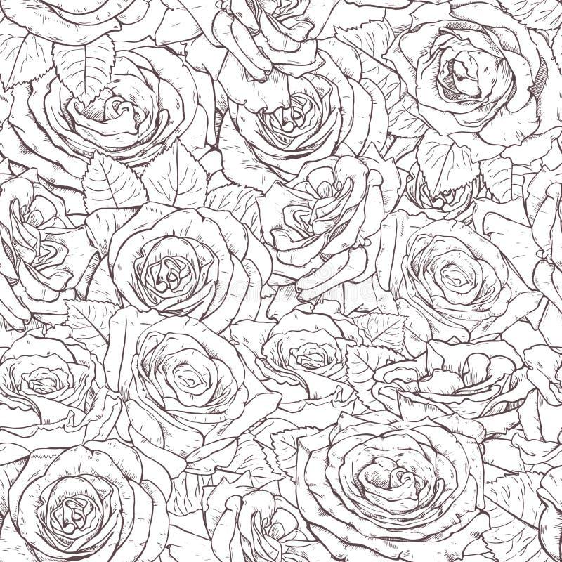 Безшовной картина нарисованная рукой с розами бесплатная иллюстрация