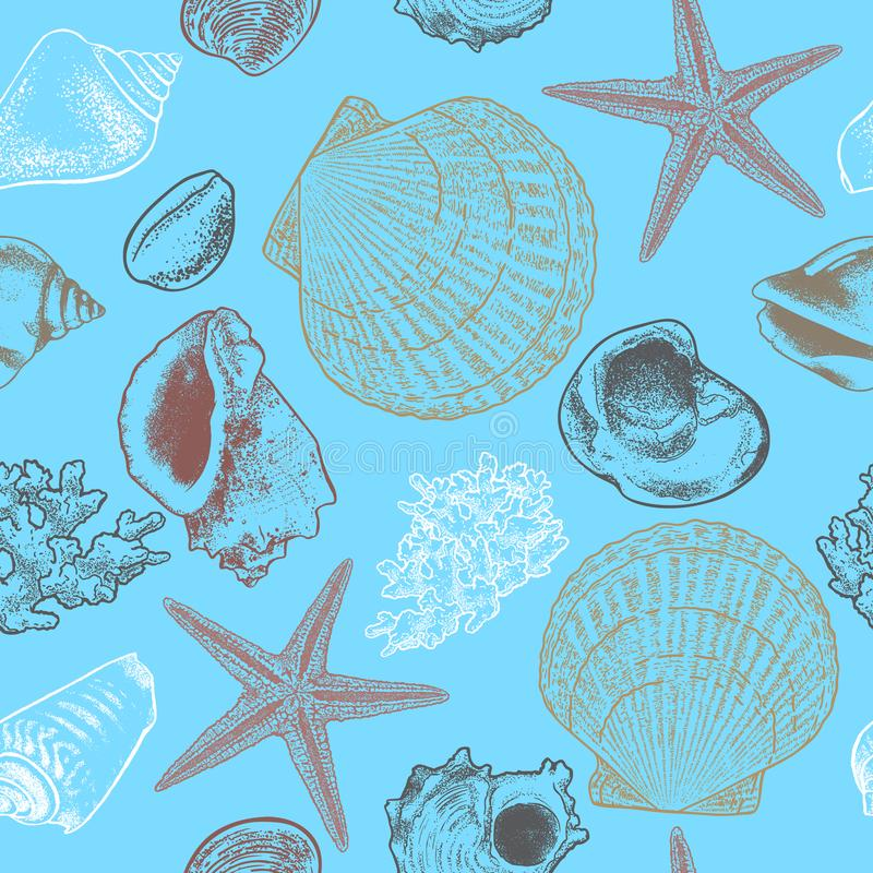 Безшовной картина нарисованная рукой с seashells, морскими звёздами и кораллом иллюстрация вектора
