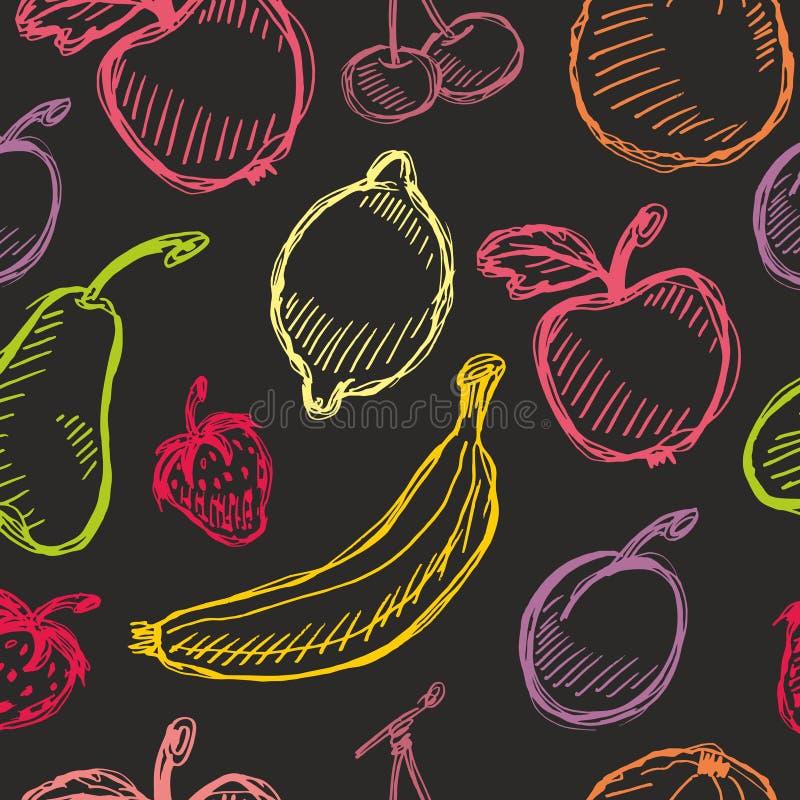 Безшовной картина плодоовощ нарисованная рукой с яблоком, вишней, лимоном, бананом, клубникой, сливой, грушей, персиком, апельсин бесплатная иллюстрация