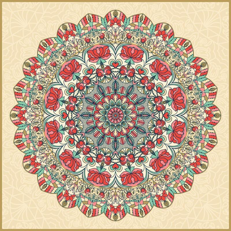 Безшовной красочной флористической картина нарисованная рукой с мандалой иллюстрация штока