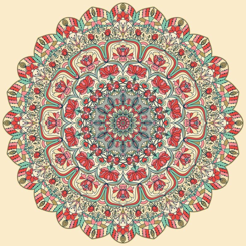 Безшовной красочной флористической картина нарисованная рукой с мандалой иллюстрация вектора