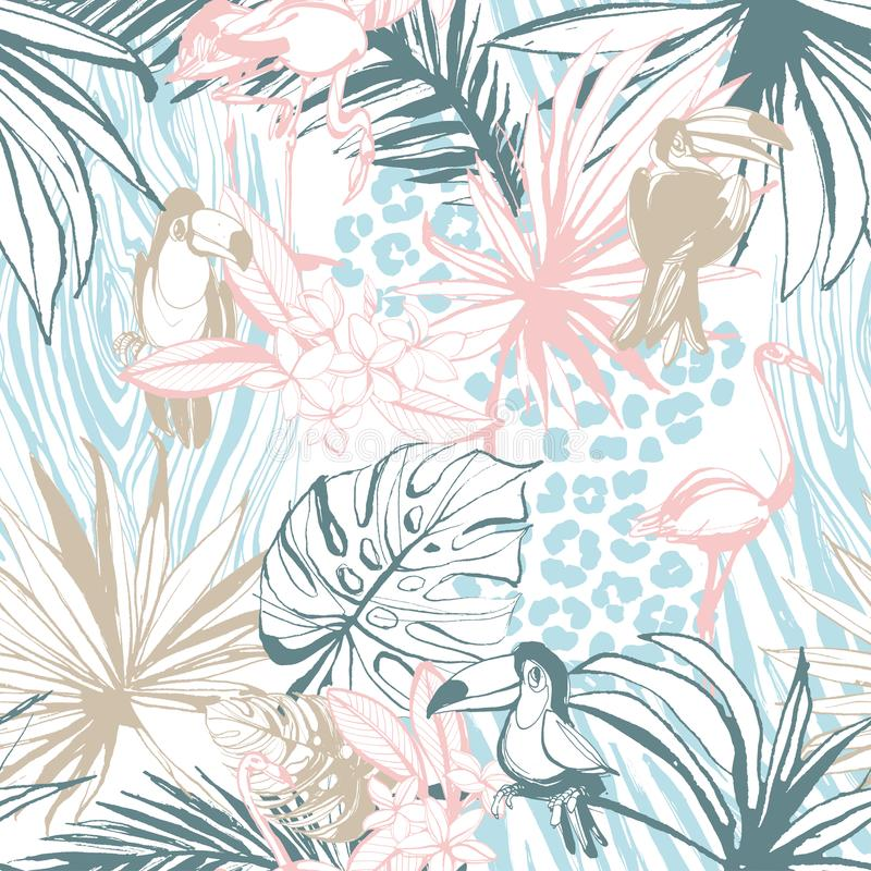 Безшовной ладонь чернил картины нарисованная рукой тропическая выходит птицам животные иллюстрация вектора