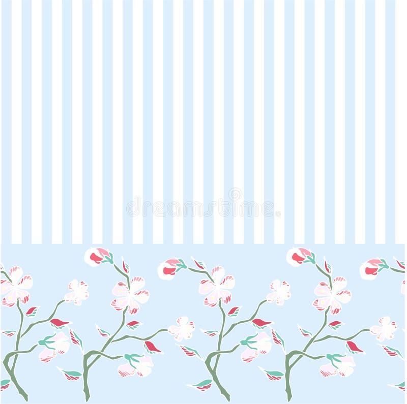 Безшовной нарисованная рукой ветвь Сакуры картины зацветая на striped сини, иллюстрация штока