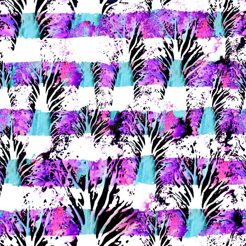 Безшовной нарисованная рукой картина акварели Яркий дизайн для обоев, плитки, ткани, ткани, оборачивать, упаковывая, печать камуф стоковое изображение rf