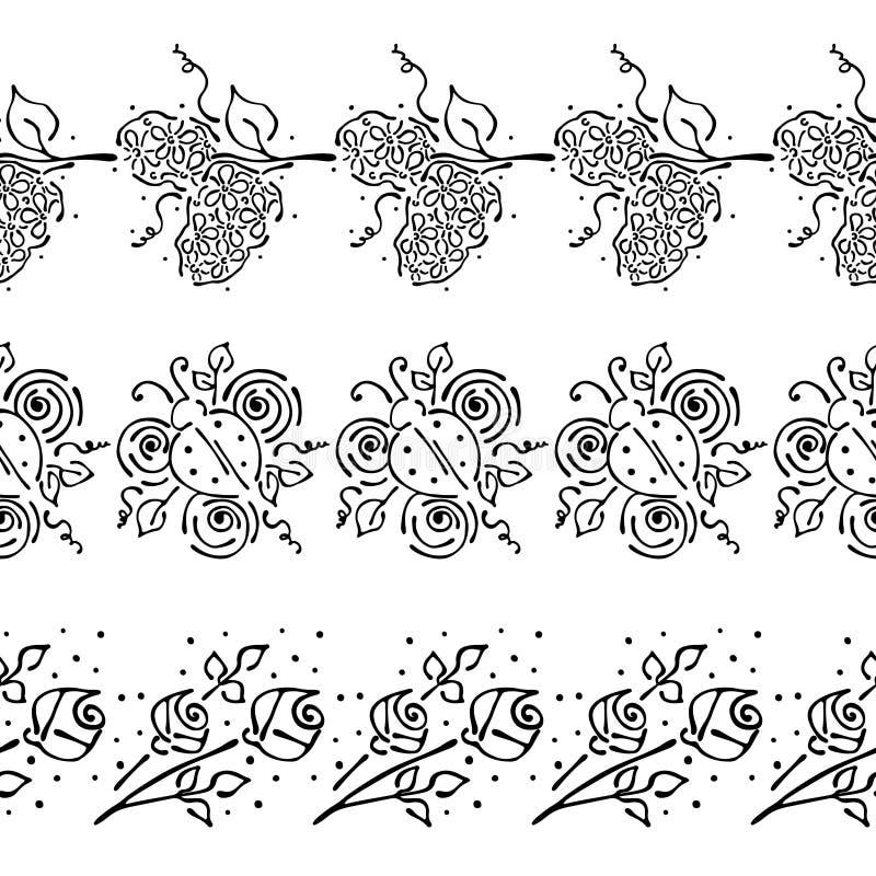 Безшовной цветочный узор вектора нарисованный рукой, рамка бесконечной границы красочная с цветками, листьями, ladybug Декоративн иллюстрация вектора