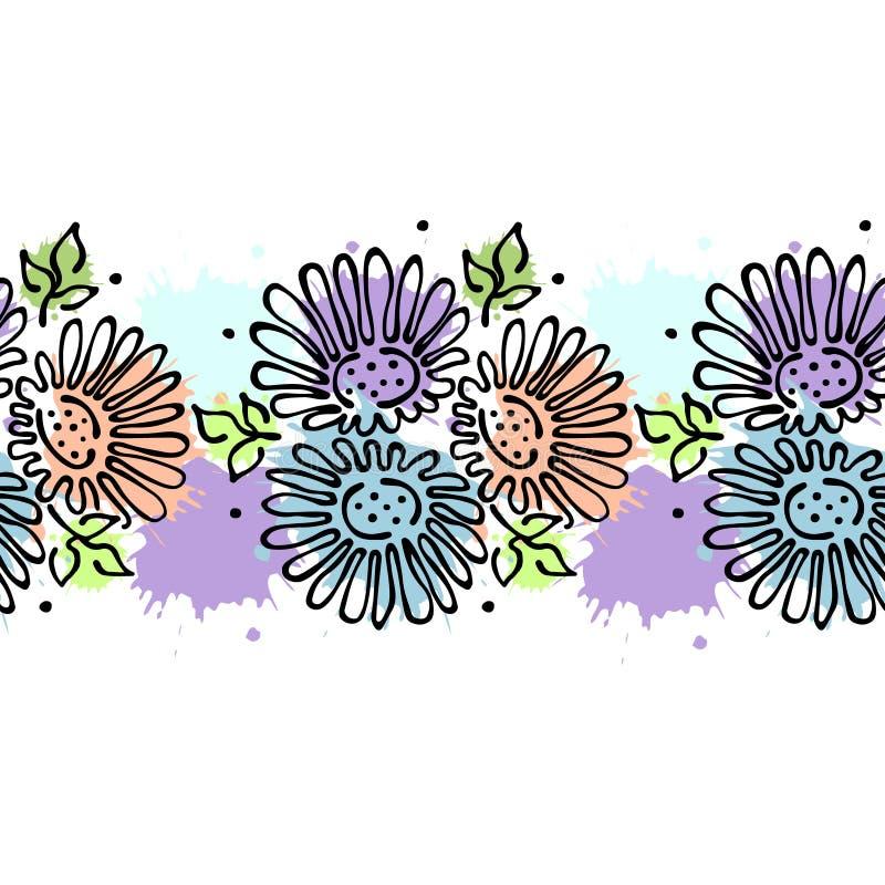 Безшовной цветочный узор вектора нарисованный рукой, рамка бесконечной границы красочная с цветками, листьями Декоративная милая  бесплатная иллюстрация
