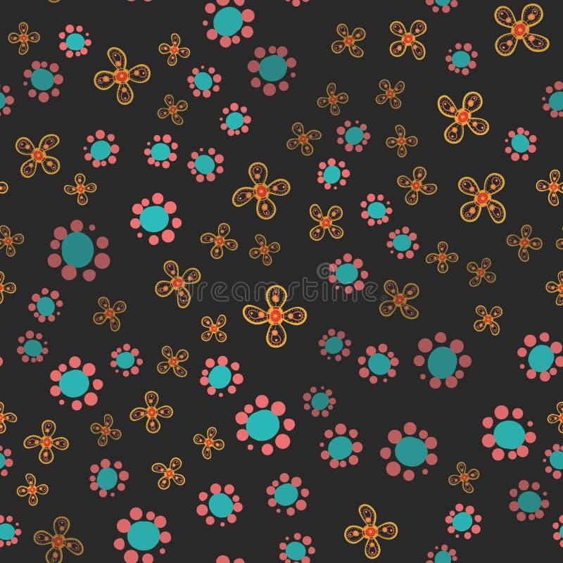 Безшовной цветочный узор нарисованный рукой ребяческий Наивная предпосылка с цветками, листьями Декоративная милая графическая ил иллюстрация штока