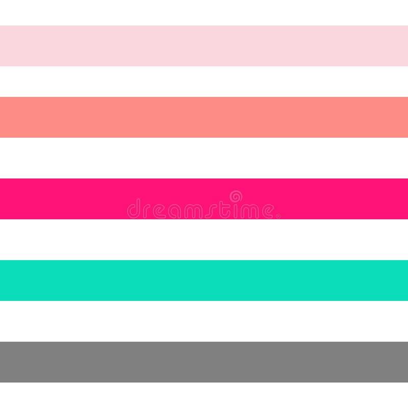 Безшовные абстрактные геометрические нашивки vector предпосылка картины с aqua bl сирени красочного коралла горизонтальных прямых иллюстрация вектора