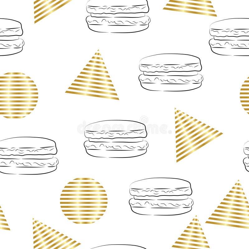 Безшовные абстрактные треугольники и картина кругов с иллюстрацией гамбургера бесплатная иллюстрация