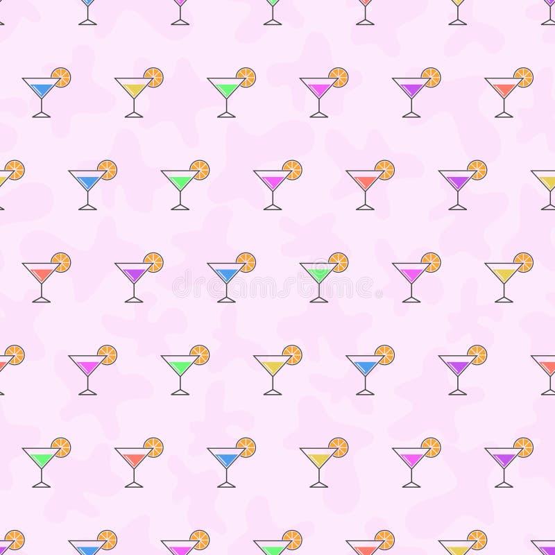 Безшовные алкогольные напитки предпосылки картины Вектор спирта Красочные коктеили для партии бесплатная иллюстрация