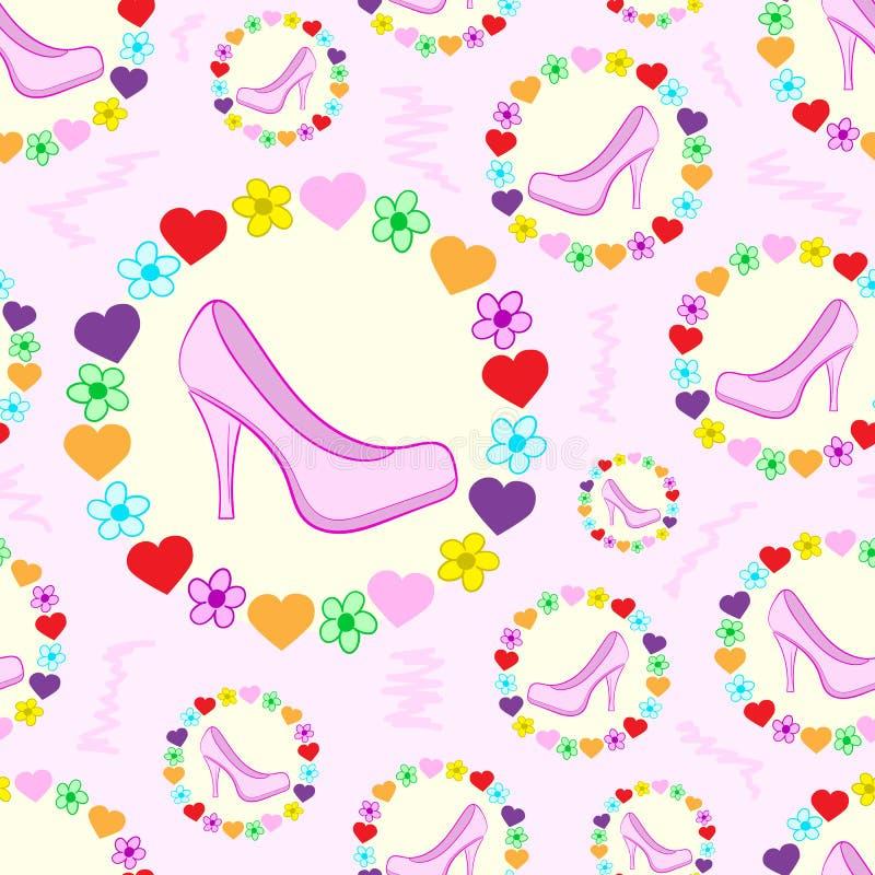 Безшовные ботинки в рамке иллюстрация штока