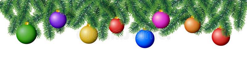 Безшовные ветви хвойного дерева зимы вектора с листьями иглы и вися красочные шарики рождества на белой предпосылке бесплатная иллюстрация