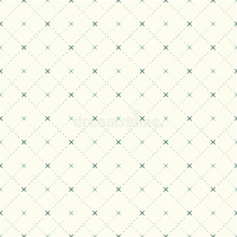 Безшовные винтажные пунктирная линия и крест проверки делают по образцу предпосылку иллюстрация вектора