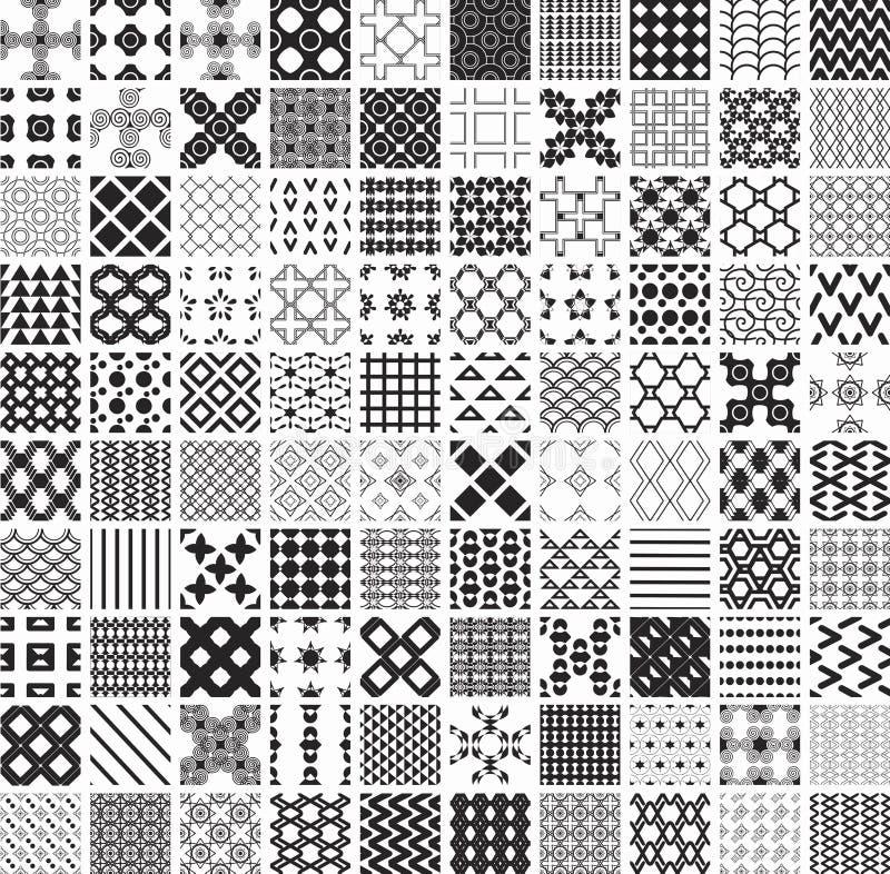100 безшовные геометрические картины и орнаментов в черно-белом, monochrome бесплатная иллюстрация