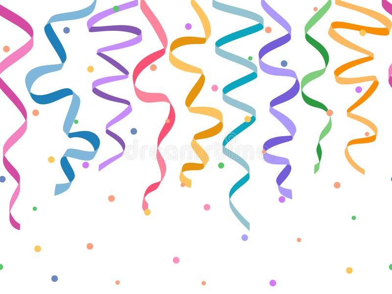 Безшовные горизонтальные декоративные серпентины с confetti без предпосылки, vector красочные ленты для сноски и знамя на декабрь иллюстрация вектора