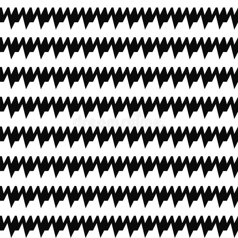 Безшовные горизонтальные линии картина острых краев Повторенные черные неровные нашивки на белой предпосылке Мотив зигзага иллюстрация штока