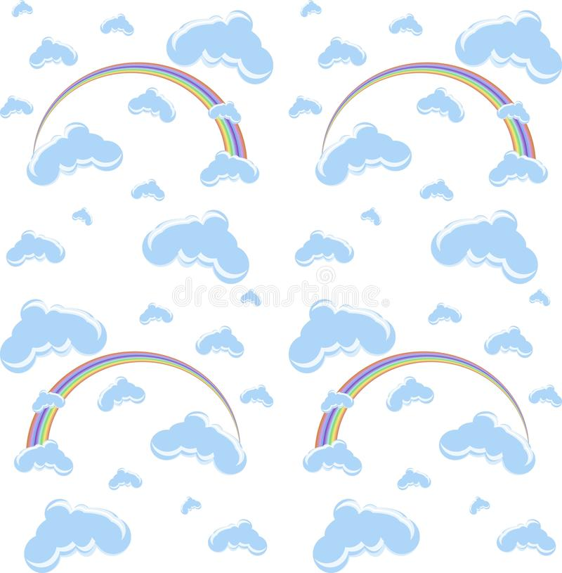 Безшовные голубые облака и предпосылка шаржа радуги на белизне иллюстрация вектора