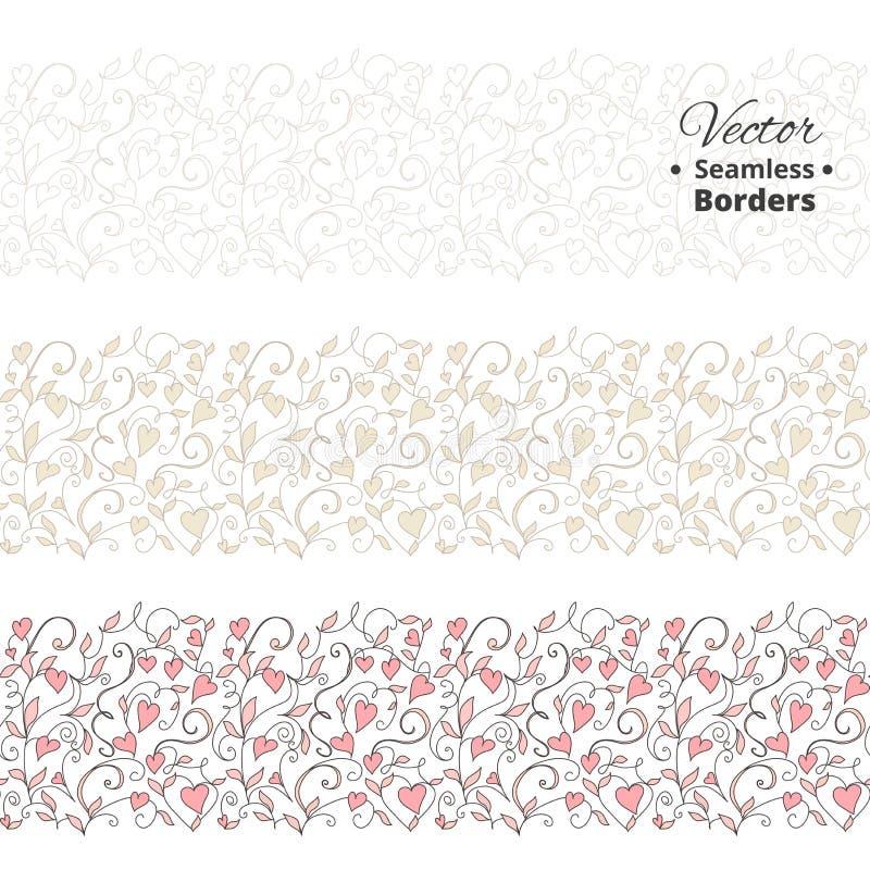 Безшовные границы влюбленности, wedding цветочный узор с сердцами Tileable, можно инфинитно повторить бесплатная иллюстрация