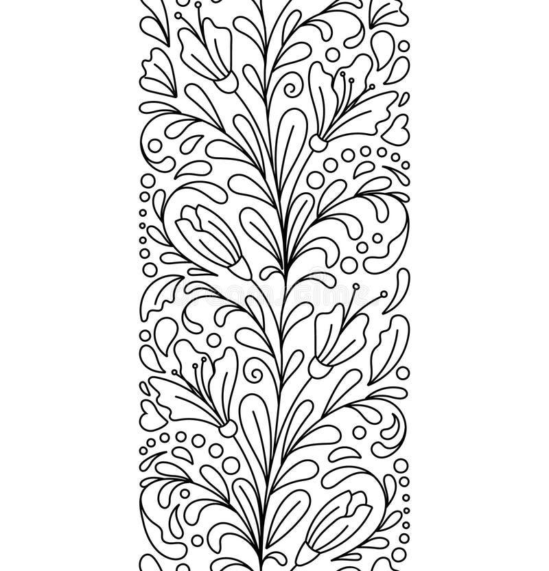 Безшовные границы в стиле doodle Флористический, богато украшенный, декоративный, валентинки, элементы дизайна дня женщин бесплатная иллюстрация