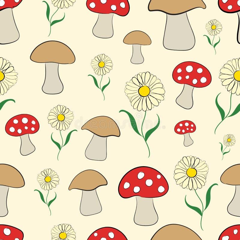 Безшовные грибы и camomiles иллюстрация штока