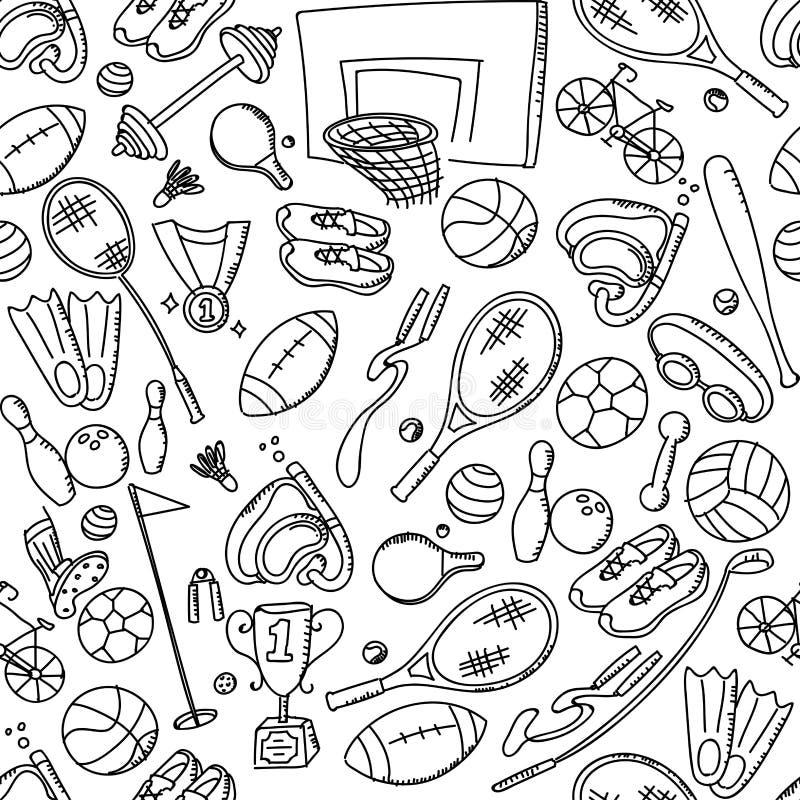 Безшовные дети спортивного инвентаря предпосылки картины вручают иллюстрацию набора чертежа изолированную на белизне иллюстрация вектора