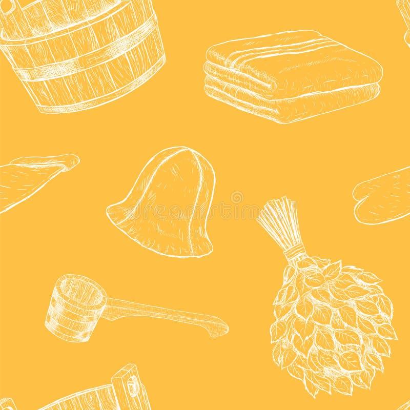 Безшовные детали картины для сауны Вектор нарисованный рукой установленный для ванны иллюстрация штока