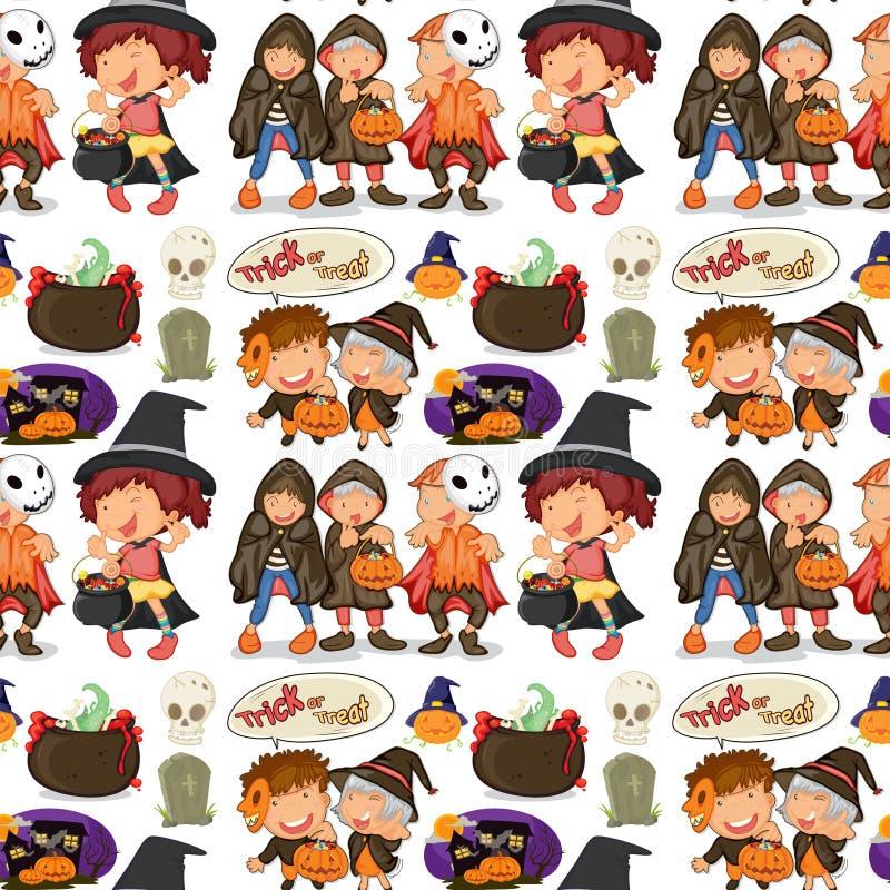Безшовные дети в костюме хеллоуина бесплатная иллюстрация