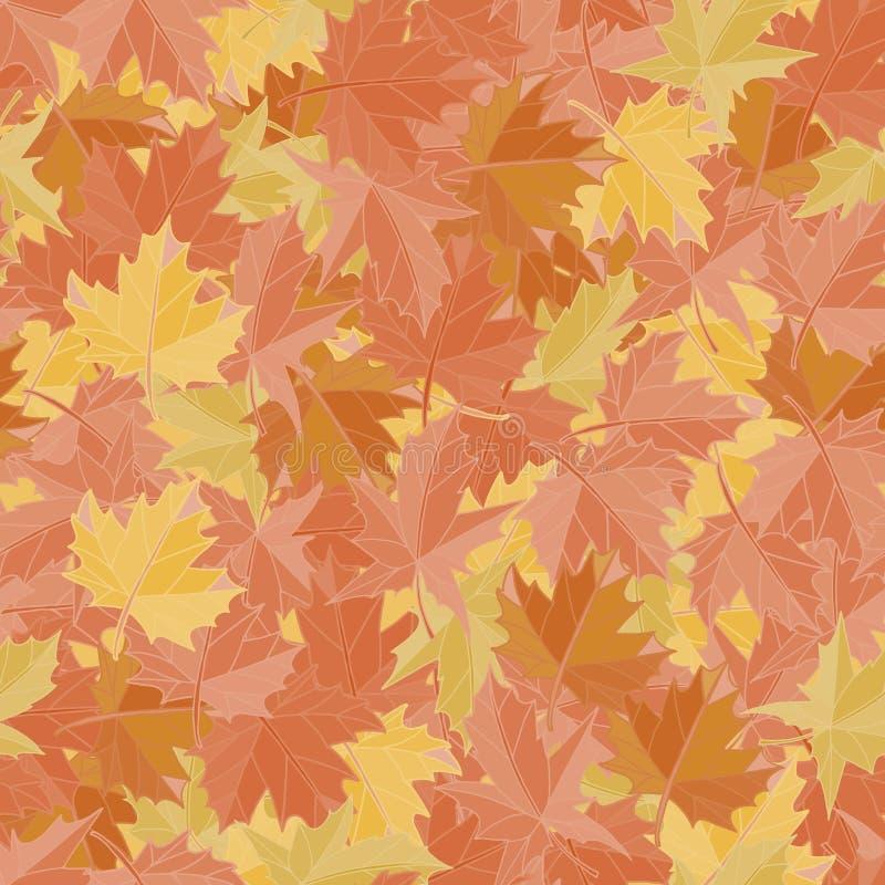 Безшовные листья клена предпосылки картины Вектор обоев падения Земля ткани иллюстрация вектора