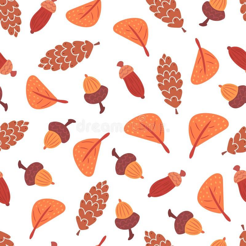 Безшовные листья осени, конусы и картина жолудей иллюстрация штока