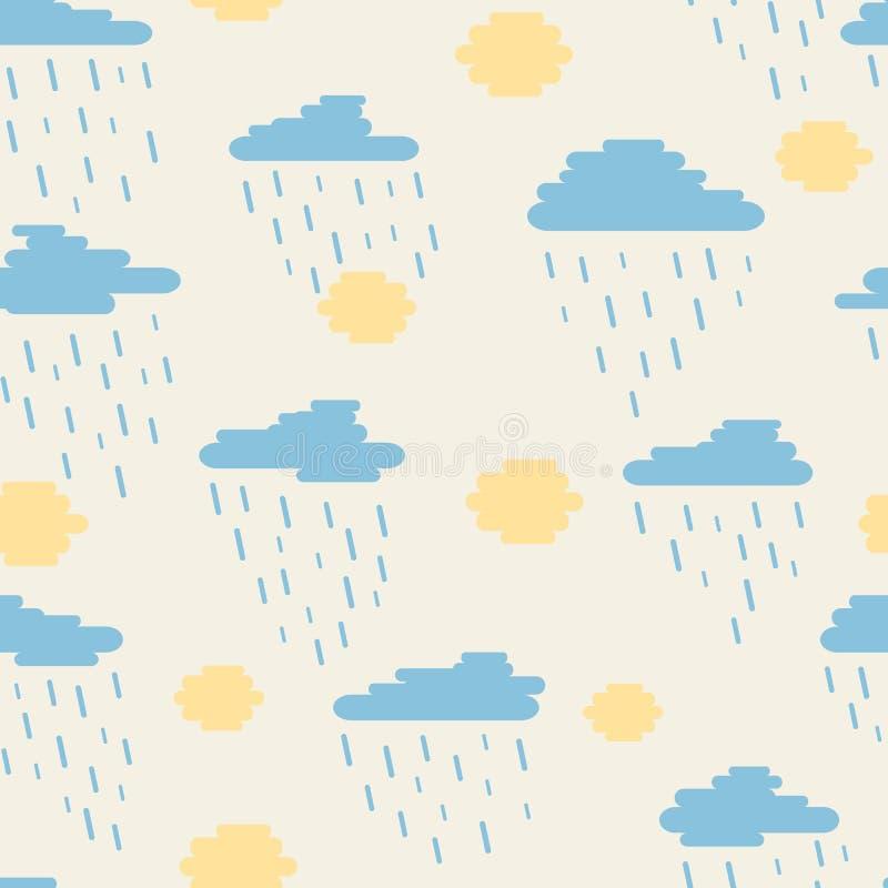 Безшовные картина, облака, дождь и солнце созданные округленных линий ненастный, солнечный день бесплатная иллюстрация