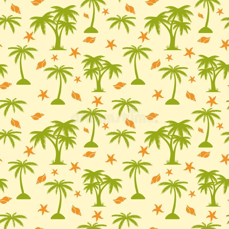Безшовные картина, пальма и seashells на бежевой предпосылке, иллюстрация штока