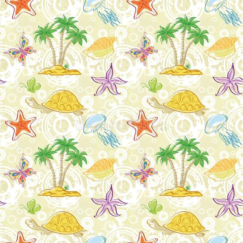 Безшовные картина, пальмы и морские животные иллюстрация вектора