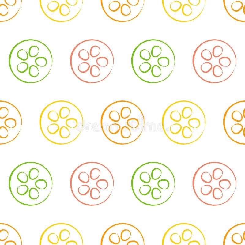 Безшовные картины вектора с кусками апельсина, известки и лимона на белой предпосылке иллюстрация вектора