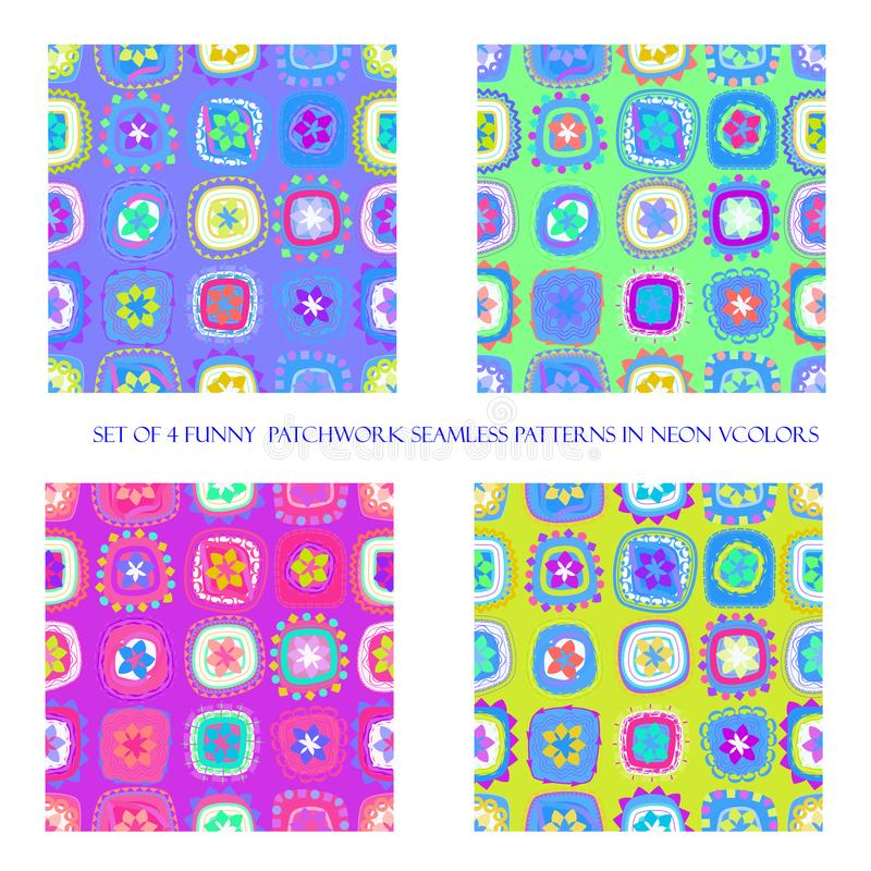 Безшовные картины в неоновых цветах иллюстрация вектора
