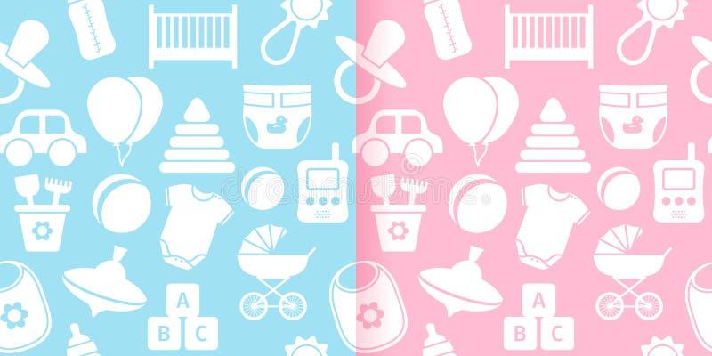 Безшовные картины с игрушками младенца также вектор иллюстрации притяжки corel иллюстрация вектора