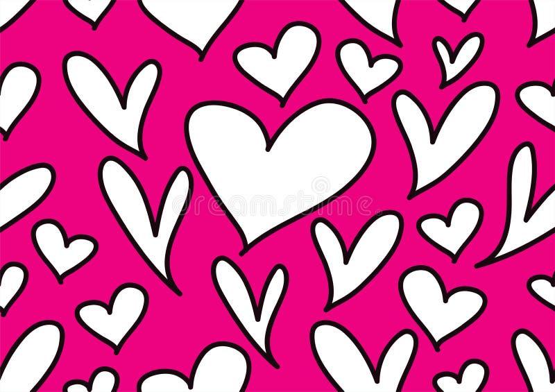 Безшовные картины с черными сердцами, предпосылкой любов, вектором формы сердца, днем Святого Валентина, текстурой, тканью, свадь иллюстрация вектора