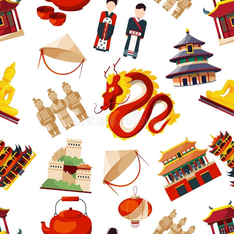 Безшовные картины с элементами традиционной культуры фарфора иллюстрация вектора